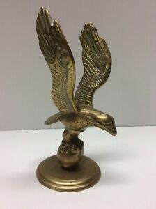 Vintage Cast Brass Flying Eagle table Top Statue R21