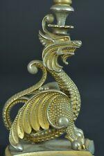Ancien  Bougeoir en bronze doré argenté gothique ciselure candlestick  rare