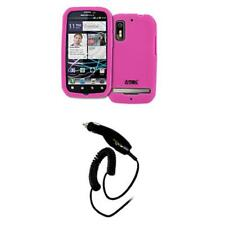 for Motorola Photon Hot Pink Silicone Skin Case Cover+Car Charger