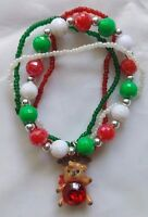Christmas Red, White, Green rope Beaded Stretch Charm Bracelet fashion jewelry