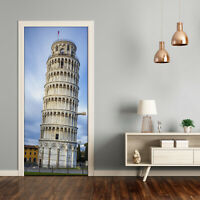 Self adhesive Door wrap removable Peel & Stick Sights The leaning tower of Pisa