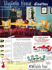 Elizabeth Taylor JANE WYMAN Gulistan Carpet VIRGINIA HOUSE DINETTES 1950 Ads
