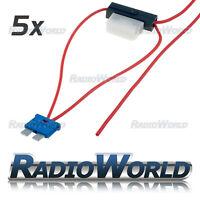5x Inline 8A ATC Blade Fuse Tap Car Audio Quick Ingition Live Splice Add Circuit