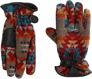 RARE Pendleton Wool Winter Gloves XL Fleece Lined Native Design AB300-1575