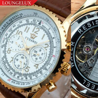 Mens Quality Luxury Bling Skeleton Automatic Mechanical Movement Leather Watch