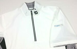 FootJoy Hydrolite White Short Sleeve 1/2 Zip Pullover Rain Wind Golf Shirt Large