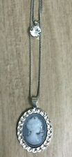 Betsy Johnson Crystal Cameo Silver Pendant on a Long Silver Necklace New!