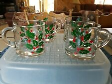 Vintage Holly Berry Clear Glass Christmas Coffee Tea Mugs Cups Set of 4