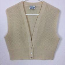 Bobbie Brooks Vintage 100% Wool Cream Yellow Vest Sz S/M