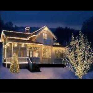 1,8 m 24x LED Außen Lichterkette Weihnachten 8 Funk Timer Auto CE IP44  warmweiß