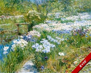 WATER GARDEN WHITE & BLUE FLOWERS IMPRESSIONIST PAINTING ART REAL CANVAS PRINT