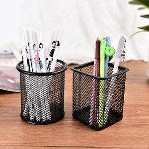 Office Desk Pen Pencil Pot Ruler Scissor Pen Holder Cup Mesh Organize Container