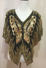 Scala Vintage Silk & Sequin Black & Gold Butterfly Top, Size Small