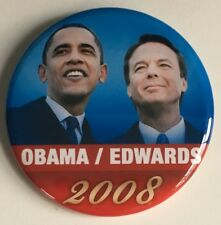 "BARACK OBAMA + JOHN EDWARDS 2.25"" Pin Button 2008 Campaign Democratic Ticket"