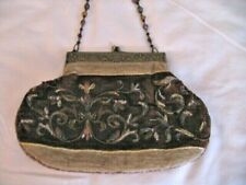 Vintage Shakeel's Concepts Hand Made Beaded Velvet Bag Purse w/ Glass Bead Strap