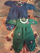 Baby Knitting Patterns  DK All In One Suit with Embroidery Detail 0-12 mth  #414
