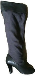 Colin Stuart Gray Knee High Boots Size 7M Leather Fabric Upper Pull On Cuffed