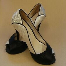 Karen Millen 4/36 Stiletto Shoes Black / Beige / diamante detail leather