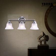 NEW 3LT Wall Sconce Light Glass Shade Bath Vanity Modern Home Decor Satin Nickel