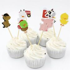 24 pcs Birthday Kids Party Favors Picks Cupcake Toppers Cake Decor Farm Animal
