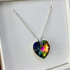 Heart Necklace Pendent Vitrail M 925 Silver Gift Made With Swarovski® Crystals