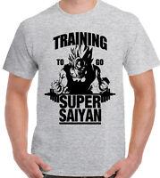 Training To Go Super Saiyan - Mens T-Shirt Dragon Ball Z Gym Bodybuilding Goku