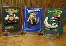 Boyds Folkwear/Flakeware, 3 Snowmen Pins; Slurp; Jolly Ol' St. Frostnick & Olaf