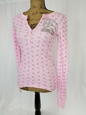 Victorias Secret Pink Thermal Sleep shirt Pajama Snowflake Small Preowned  EUC