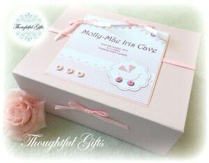 Personalised LARGE White/ Pink Baby Girl's Keepsake Box Memory Box New Baby Gift