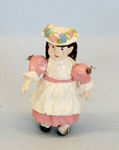 """Dollhouse Handpainted Little Girl Miniature Jointed Nursery Toy Doll 1.5"""""""
