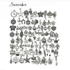 Bulk Lots Tibetan Silver Mix Pendants Charms Bracelet Necklace Beads 80PCS