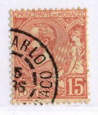 Timbres de Monaco roses oblitérés