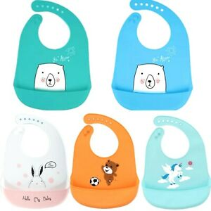 Baby Silicone Bibs toddler weaning Dishwasher Safe Comfortable Feeding Food Cute