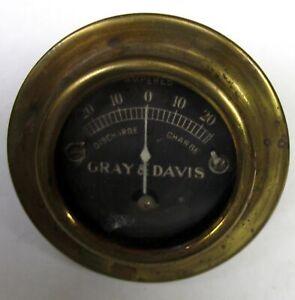 EARLY GRAY & DAVIS AMP GAUGE CADILLAC MODEL T FORD PIERCE ARROW LOCOMOBILE