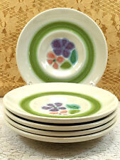 Franciscan Earthenware Floral Purple Pink Green Set Of 4 Saucers Collectible
