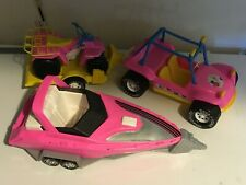 Barbie-compatible Jeep 4-wheeler speedboat & trailers Gay Toys American Plastic