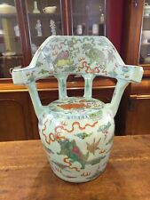 More details for chinese porcelain ceramic seat stool chair decorated pottery glazed painted