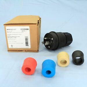 New Cooper Industrial Watertight Locking Plug NEMA L6-30P 30A 250V 2P3W L630PWBK