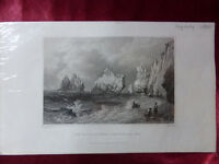 Antique engraving VIEW THE NEEDLES SCRATCHELLS BAY, ISLE OF WIGHT c1830 Veduta