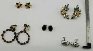 Vintage Lot of 5 pairs Clip Screw-back Earrings Fashion Jewelry (J9#2)(Lot 12)