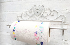 Shabby Chic Kitchen Roll Holder French Vintage Hand Towel Antique White Heart