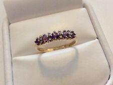 Lovely Ladies Vintage 9CT Gold Pretty Amethyst & Diamond Ring - N 1/2