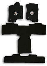 2011-2014 Escalade Base Model 4pc Black Carpet Floor Mats w Cadillac Crest Logo