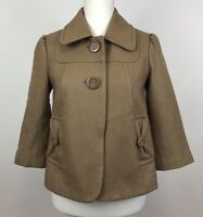Anthropologie Women's Tulle Peacoat Jacket Wool Blend Cropped 3/4 Sleeve Small