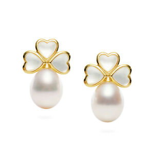 """AAAA+ Flawless 9.7×12mm FW White Drop FW Pearl Earrings Sterling Silver,0.8"""""""