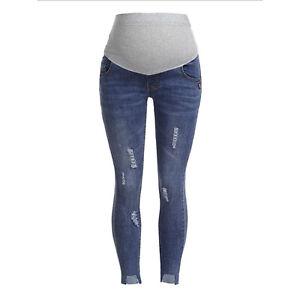 Maternity Denim Pants Pregnant Women Jeans Spring Ripped Slim Trousers Bottoms