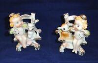 Pair Vtg Porcelain Angel Figurines Woodland Chair Deer Lamb Japan