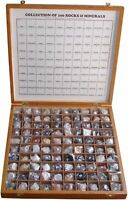 Bexco 100 Rocks and Minerals specimen collection in Wooden Box.