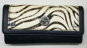 Kate Landry Wallet Checkbook Credit Card Zebra Print Black