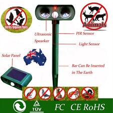 AU! SOLAR Dual Ultra Sonic Garden Animal Scarer PIR Deterrent Cat Dog Repeller